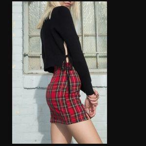 Brandy Melville Avah Side Tie Crop Black Sweater